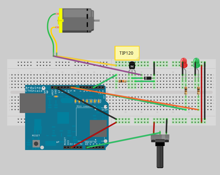 Arduino with DC Motor and Potentiometer